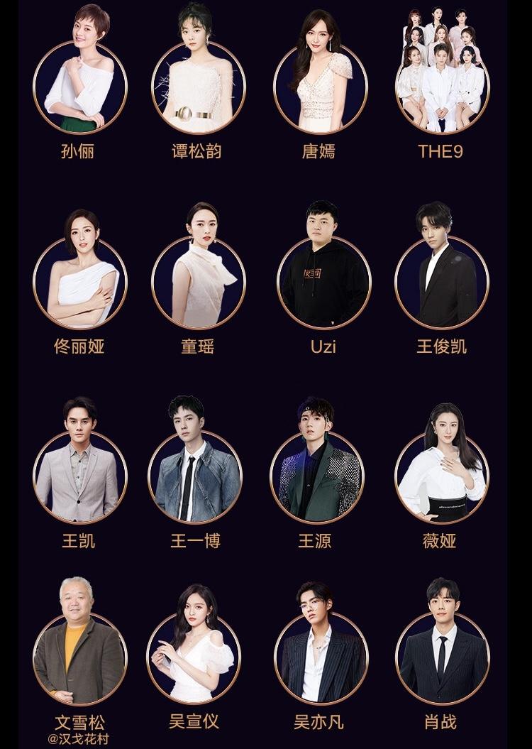 娱乐圈的顶流聚会!2020微博之夜官宣全阵容!THE9、蔡徐坤、华晨宇表演曲目曝光